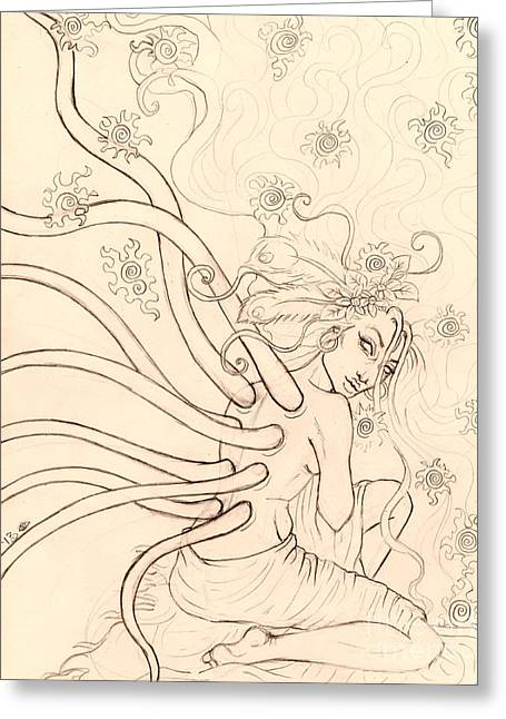 Stars Entwined In Her Hair Greeting Card by Coriander  Shea