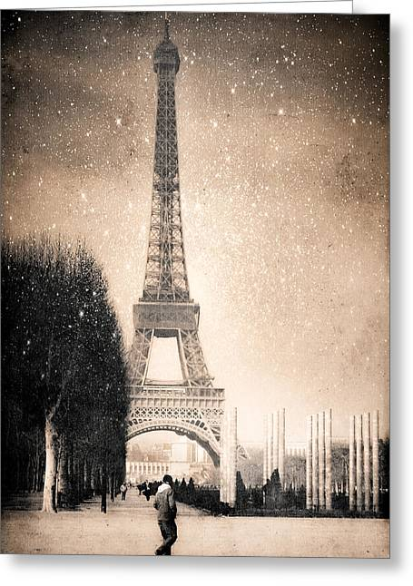 Stars Fall On The Eiffel Tower Greeting Card by Mark E Tisdale
