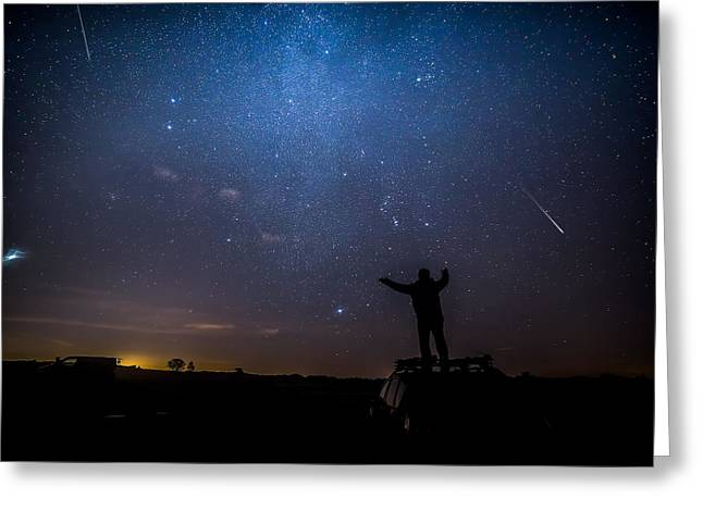 Stars  Meteors And Standing On Cars Greeting Card