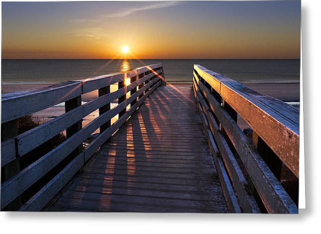 Stars On The Boardwalk Greeting Card by Debra and Dave Vanderlaan