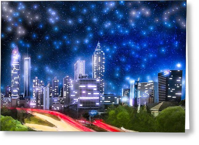 Stars Over Atlanta - Skyline Greeting Card