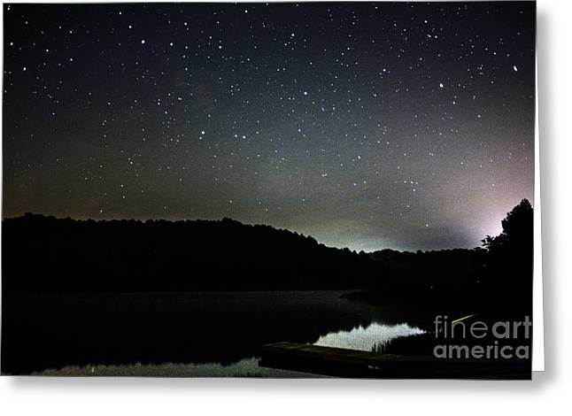 Stars Over Lake Greeting Card by Thomas R Fletcher