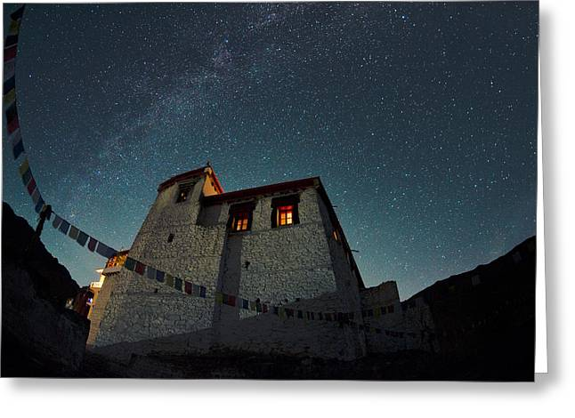 Stars Over The Monastery Greeting Card by Aaron Bedell
