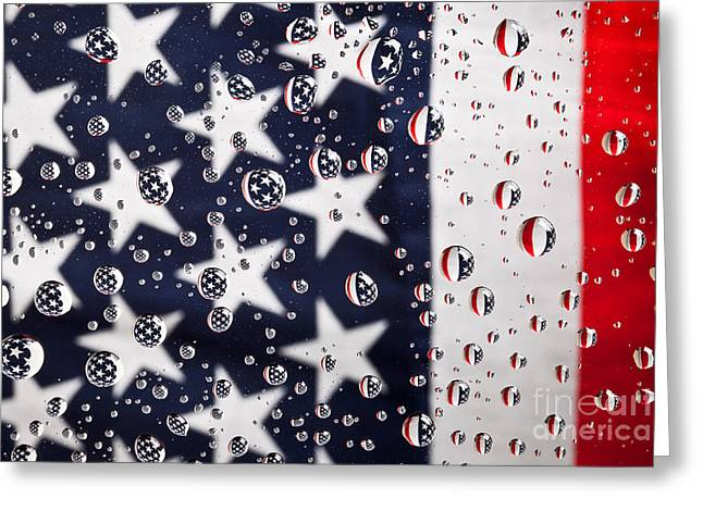 Stars Stripes And Water Drops Greeting Card by Sharon Dominick