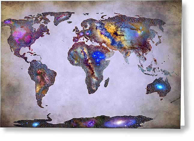 Stars World Map Space Greeting Card