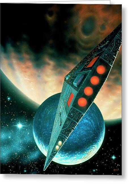Starship Nearing A Gas Giant's Moon. Greeting Card