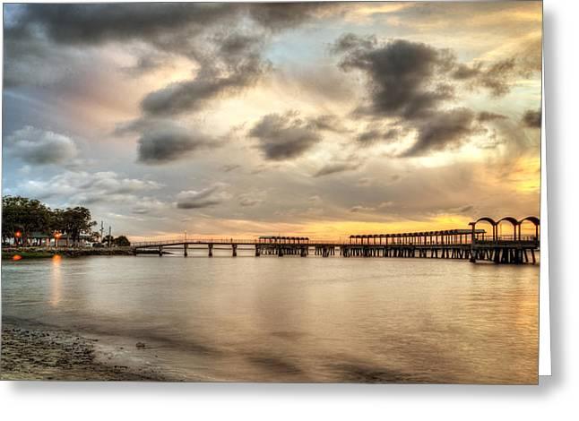 Starting A Night Of Fishing At Crab Creek Pier Greeting Card