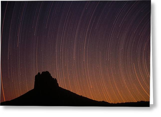 Startrails Over Shiprock In The Four Greeting Card by Tim Fitzharris