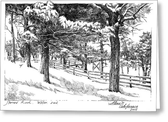 Starved Rock Winter 2004. Stippling. Greeting Card