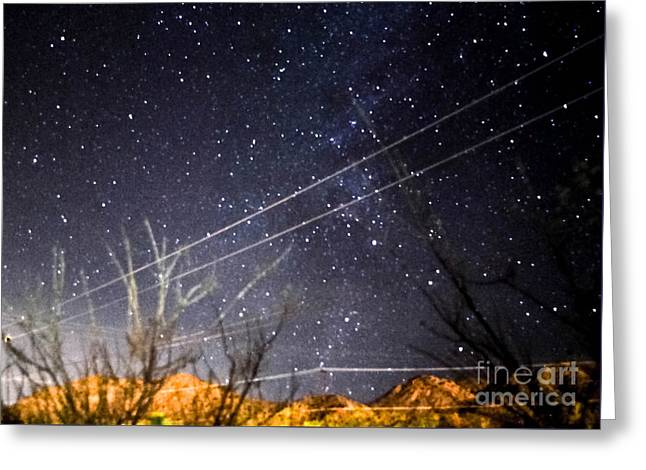 Stars Drunk On Lightpaint Greeting Card by Angela J Wright