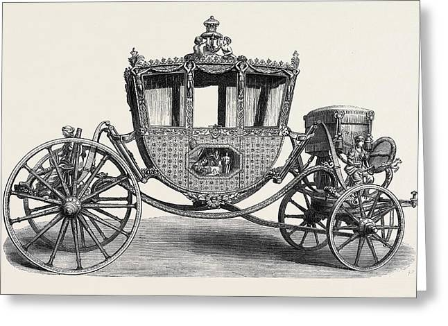 State Carriage Used By The Lord Chancellor Of Ireland 1780 Greeting Card by Irish School