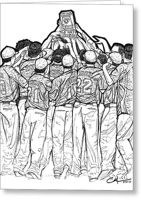 Greeting Card featuring the drawing State Champions by Calvin Durham