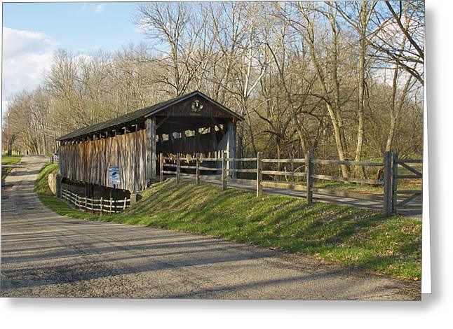State Line Or Bebb Park Covered Bridge Greeting Card by Jack R Perry