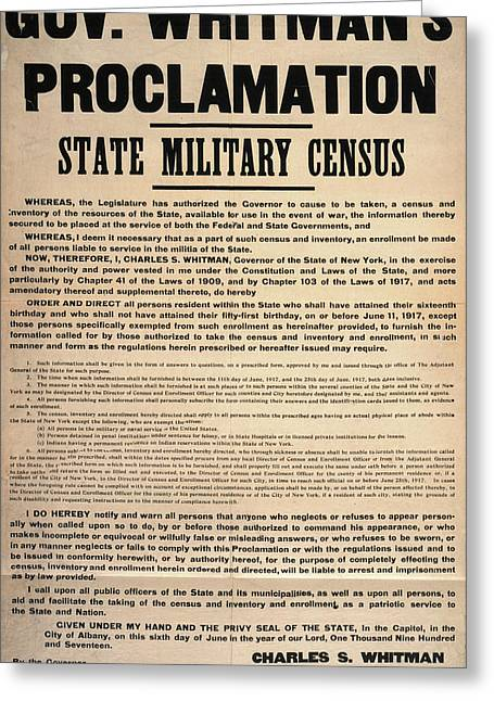 State Military Census, 1917 Greeting Card by Granger