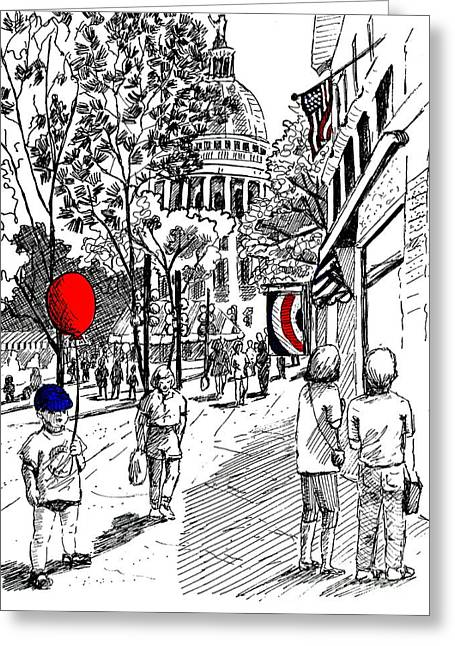 State Street Market Greeting Card by Marilyn Smith