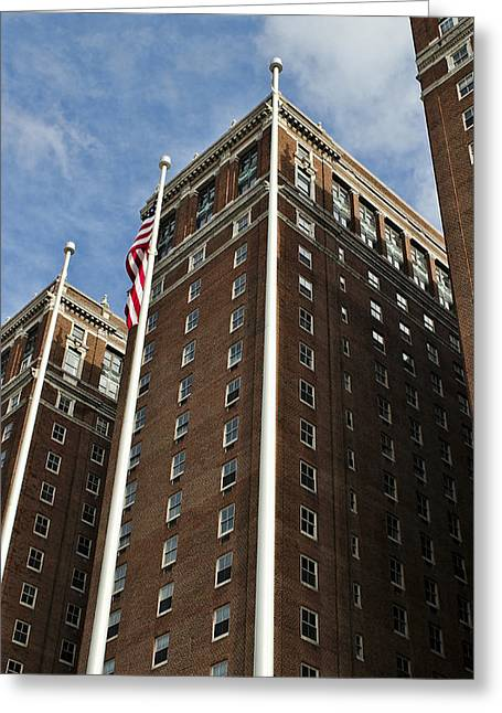 Statler Towers Greeting Card by Peter Chilelli