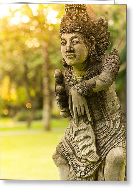 Statue - Bali Greeting Card by Matthew Onheiber
