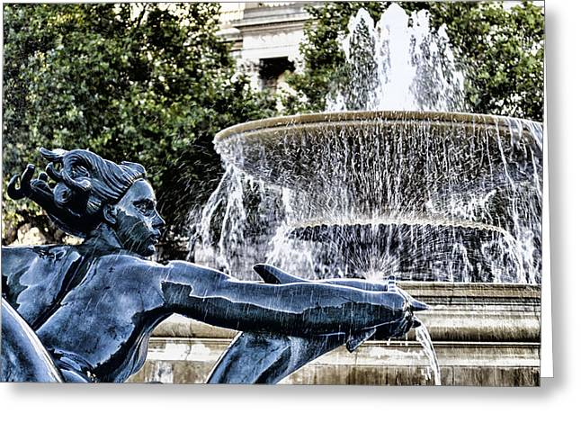 Statue And Fountain Greeting Card by Joseph S Giacalone