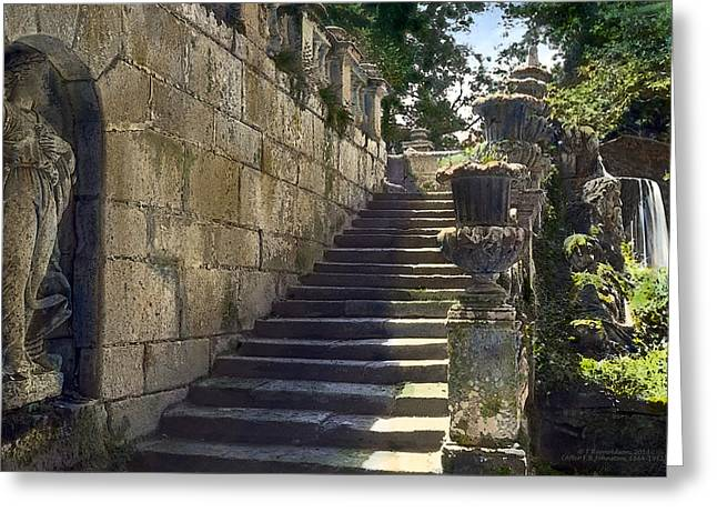 Statue And Stairs Greeting Card by Terry Reynoldson
