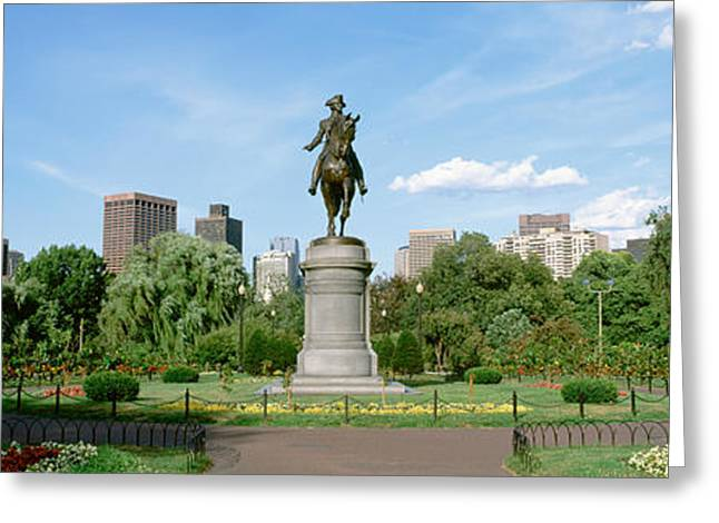 Statue In A Garden, Boston Public Greeting Card by Panoramic Images