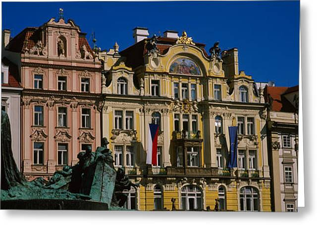 Statue In Front Of Buildings, Jan Hus Greeting Card by Panoramic Images