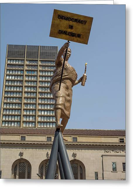 Statue In Front Of Johannesburg City Greeting Card