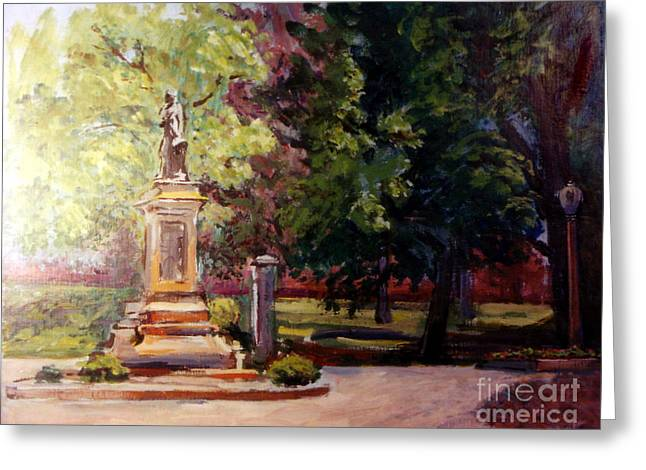 Statue In  Landscape Greeting Card by Stan Esson