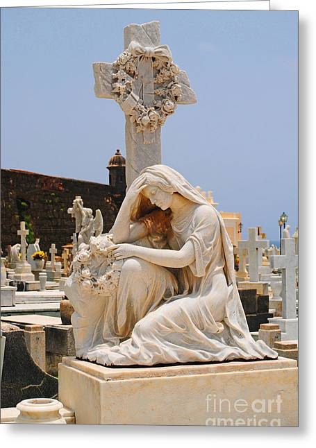 Statue Mourning Woman Greeting Card