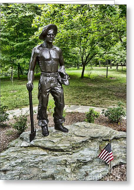 Statue Of A Ccc Boy At Gambrill State Park In Maryland Greeting Card by William Kuta