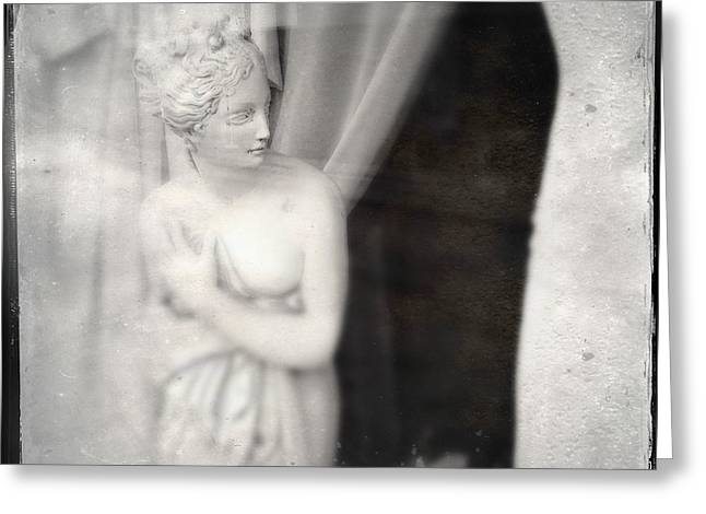 Statue Of A Woman In Shop Window Greeting Card