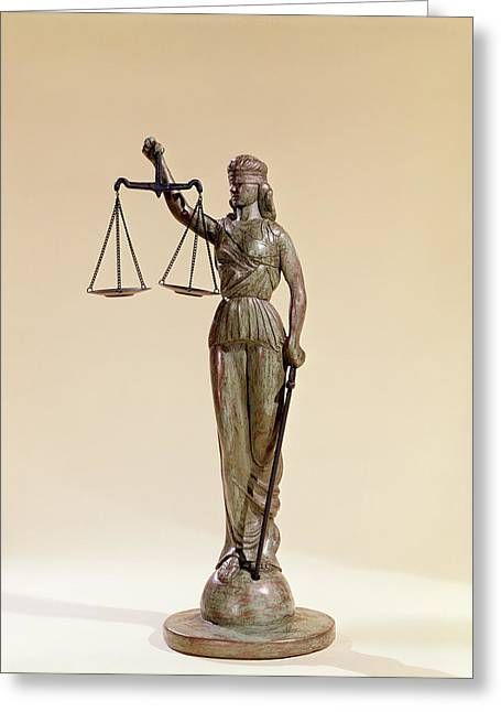 Statue Of Blind Justice Holding Scales Greeting Card