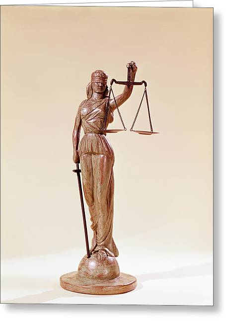 Statue Of Blindfolded Lady Justice Greeting Card