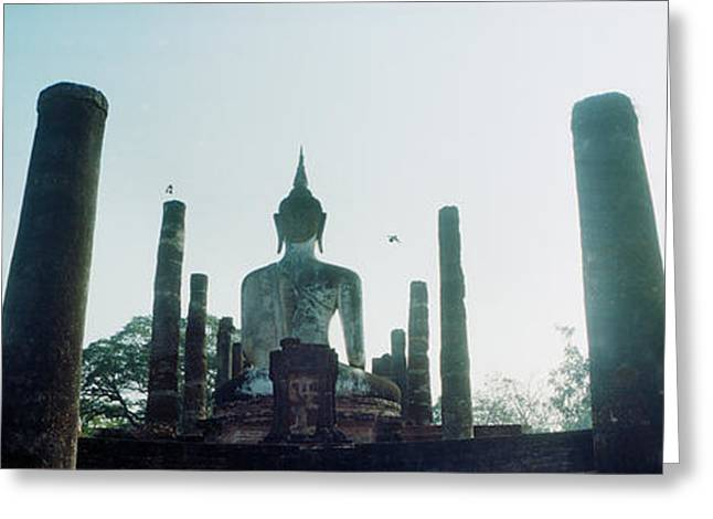 Statue Of Buddha At A Temple, Sukhothai Greeting Card by Panoramic Images