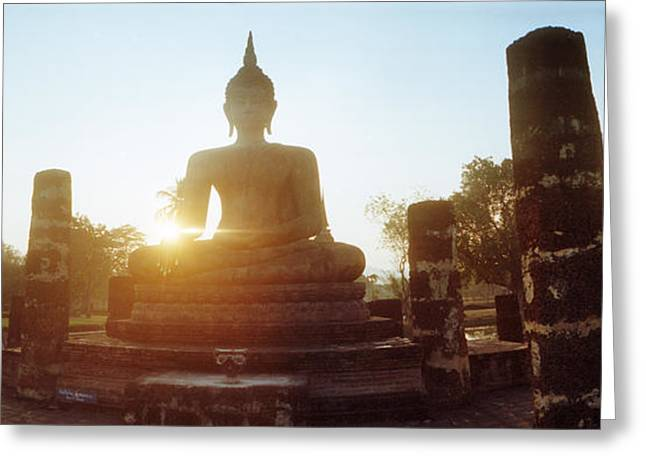Statue Of Buddha At Sunset, Sukhothai Greeting Card by Panoramic Images