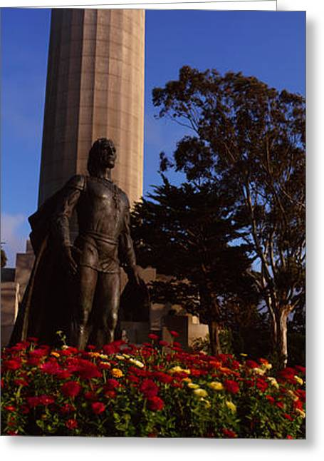 Statue Of Christopher Columbus In Front Greeting Card by Panoramic Images