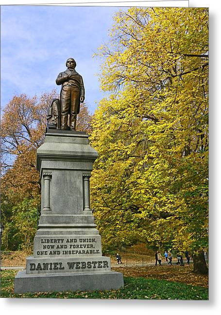 Statue Of Daniel Webster - Central Park Greeting Card by Allen Beatty