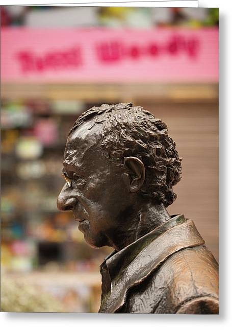 Statue Of Film Director Woody Allen Greeting Card