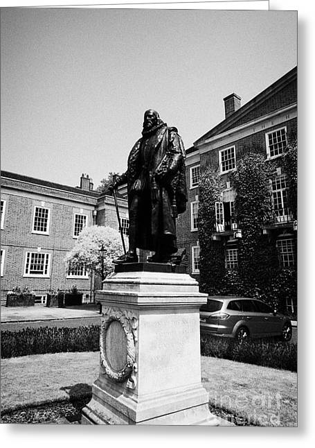 statue of francis bacon in front of grays inn hall London England UK Greeting Card by Joe Fox