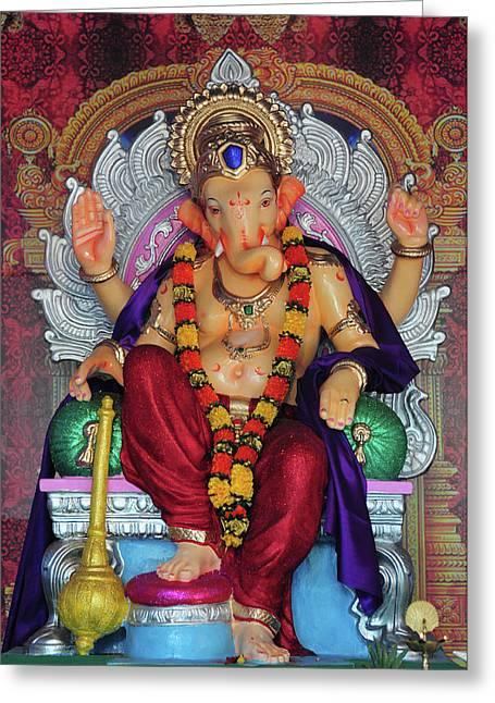 Statue Of Hindu Lord Ganesh Made Greeting Card by Jaina Mishra