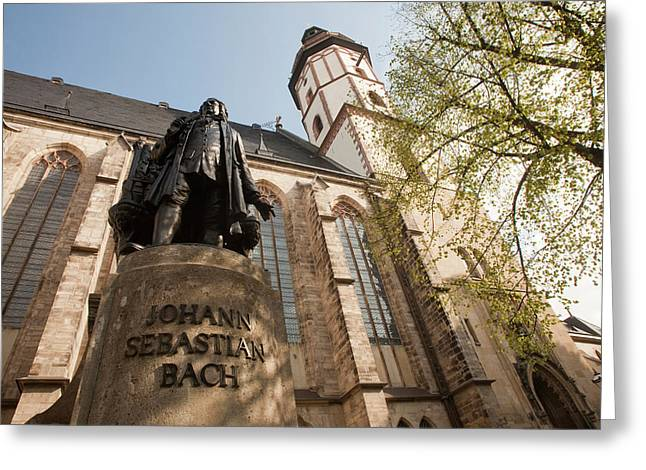 Statue Of J S Bach On Grounds Of St Greeting Card by Dave Bartruff