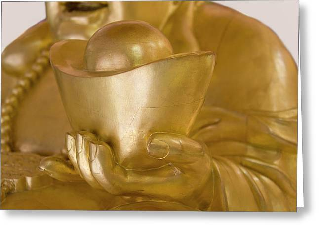 Statue Of Laughing Buddha Holding Gold Greeting Card by Keren Su