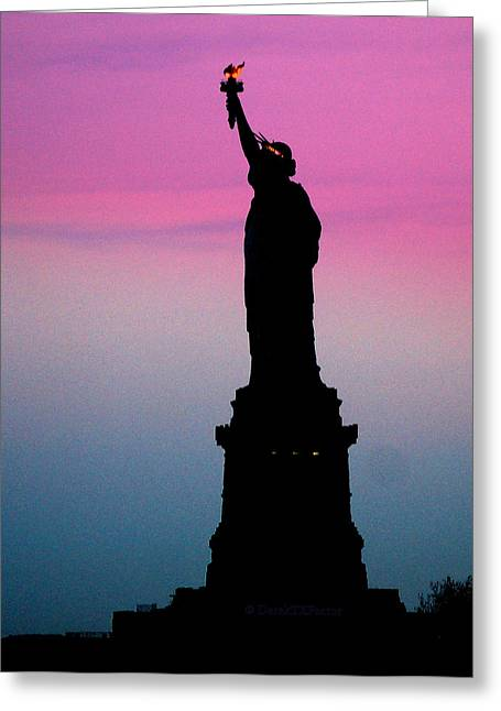 Statue Of Liberty At Dusk Greeting Card by DerekTXFactor Creative