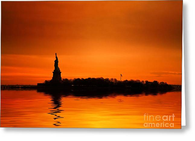 Statue Of Liberty At Sunset Greeting Card by John Farnan