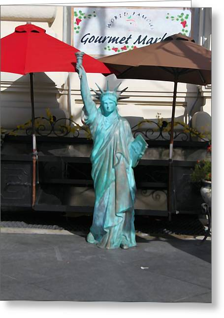 Statue Of Liberty At The Market Greeting Card by Dan Sproul