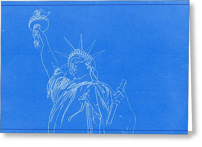 Statue Of Liberty Blueprint Greeting Card by Celestial Images