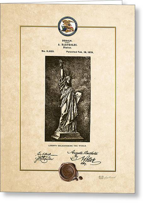 Statue Of Liberty By A. Bartholdi - Vintage Patent Document Greeting Card