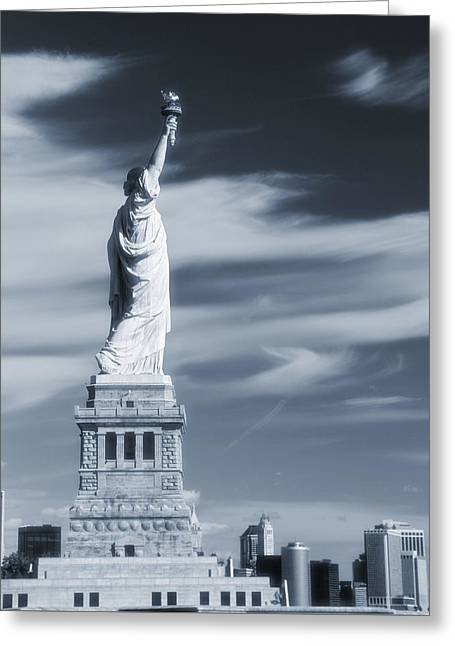 Statue Of Liberty Facing New York City Greeting Card