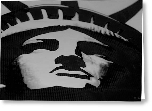 Statue Of Liberty In Black And White Greeting Card by Rob Hans