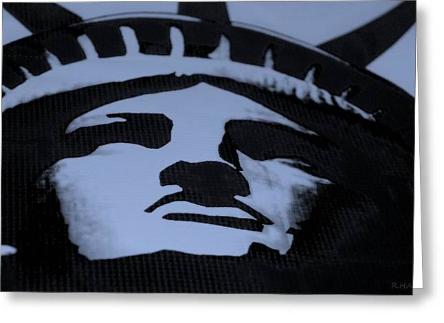 Statue Of Liberty In Dark Cyan Greeting Card by Rob Hans