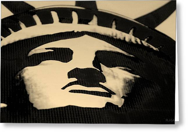 Statue Of Liberty In Dark Sepia Greeting Card by Rob Hans